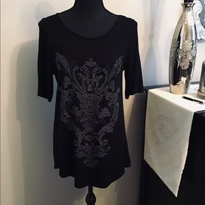 Tops - Black and silver beaded top